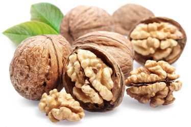 Walnuts with leaf.